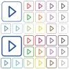 Media play outlined flat color icons - Media play color flat icons in rounded square frames. Thin and thick versions included.