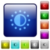 Saturation control color square buttons - Saturation control icons in rounded square color glossy button set