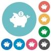 Dollar piggy bank flat round icons - Dollar piggy bank flat white icons on round color backgrounds