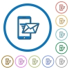 Sending email from mobile phone icons with shadows and outlines - Sending email from mobile phone flat color vector icons with shadows in round outlines on white background