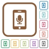 Mobile recording simple icons - Mobile recording simple icons in color rounded square frames on white background