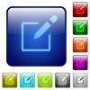 Editbox with pencil color square buttons - Editbox with pencil icons in rounded square color glossy button set