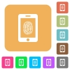 Smartphone fingerprint identification rounded square flat icons - Smartphone fingerprint identification flat icons on rounded square vivid color backgrounds.