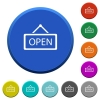 Open sign beveled buttons - Open sign round color beveled buttons with smooth surfaces and flat white icons