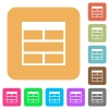 Spreadsheet horizontally merge table cells rounded square flat icons - Spreadsheet horizontally merge table cells flat icons on rounded square vivid color backgrounds.