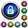 Locked Rubles round glossy buttons - Locked Rubles icons in round glossy buttons with steel frames