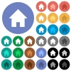 Home round flat multi colored icons - Home multi colored flat icons on round backgrounds. Included white, light and dark icon variations for hover and active status effects, and bonus shades on black backgounds.