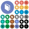 Single book round flat multi colored icons - Single book multi colored flat icons on round backgrounds. Included white, light and dark icon variations for hover and active status effects, and bonus shades on black backgounds.