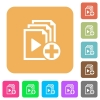 Add new item to playlist rounded square flat icons - Add new item to playlist flat icons on rounded square vivid color backgrounds.