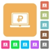 Laptop with Ruble sign rounded square flat icons - Laptop with Ruble sign flat icons on rounded square vivid color backgrounds.