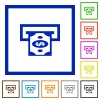 Dollar bank ATM flat framed icons - Dollar bank ATM flat color icons in square frames on white background