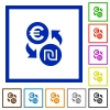 Euro new Shekel money exchange flat color icons in square frames on white background - Euro new Shekel money exchange flat framed icons