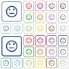 Neutral emoticon outlined flat color icons - Neutral emoticon color flat icons in rounded square frames. Thin and thick versions included.