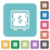 Dollar strong box rounded square flat icons - Dollar strong box white flat icons on color rounded square backgrounds