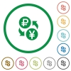 Ruble Yen money exchange flat icons with outlines - Ruble Yen money exchange flat color icons in round outlines on white background