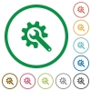 Wrench with cogwheel flat icons with outlines - Wrench with cogwheel flat color icons in round outlines on white background