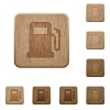 Gas station wooden buttons - Gas station on rounded square carved wooden button styles