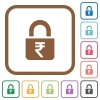 Locked rupees simple icons - Locked rupees simple icons in color rounded square frames on white background
