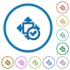 Accept size icons with shadows and outlines - Accept size flat color vector icons with shadows in round outlines on white background