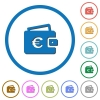 Euro wallet icons with shadows and outlines - Euro wallet flat color vector icons with shadows in round outlines on white background