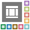 Three columned web layout square flat icons - Three columned web layout flat icons on simple color square backgrounds