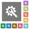 Wrench with cogwheel square flat icons - Wrench with cogwheel flat icons on simple color square backgrounds