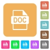 DOC file format rounded square flat icons - DOC file format flat icons on rounded square vivid color backgrounds.
