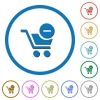 Remove item from cart icons with shadows and outlines - Remove item from cart flat color vector icons with shadows in round outlines on white background