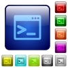 Command prompt color square buttons - Command prompt icons in rounded square color glossy button set