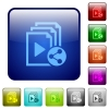 Share playlist color square buttons - Share playlist icons in rounded square color glossy button set