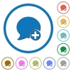 Post blog comment icons with shadows and outlines - Post blog comment flat color vector icons with shadows in round outlines on white background