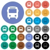 Bus round flat multi colored icons - Bus multi colored flat icons on round backgrounds. Included white, light and dark icon variations for hover and active status effects, and bonus shades on black backgounds.