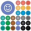 Smiling emoticon multi colored flat icons on round backgrounds. Included white, light and dark icon variations for hover and active status effects, and bonus shades on black backgounds. - Smiling emoticon round flat multi colored icons