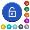 Unlocked padlock beveled buttons - Unlocked padlock round color beveled buttons with smooth surfaces and flat white icons