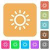Brightness control rounded square flat icons - Brightness control flat icons on rounded square vivid color backgrounds.