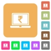 Laptop with Rupee sign rounded square flat icons - Laptop with Rupee sign flat icons on rounded square vivid color backgrounds.