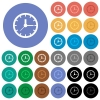 Clock round flat multi colored icons - Clock multi colored flat icons on round backgrounds. Included white, light and dark icon variations for hover and active status effects, and bonus shades on black backgounds.