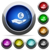Pound earnings round glossy buttons - Pound earnings icons in round glossy buttons with steel frames
