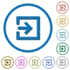 Import with inside arrow icons with shadows and outlines - Import with inside arrow flat color vector icons with shadows in round outlines on white background