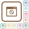 Disabled application simple icons in color rounded square frames on white background - Disabled application simple icons