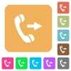 Outgoing phone call rounded square flat icons - Outgoing phone call flat icons on rounded square vivid color backgrounds.