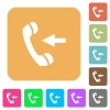 Incoming phone call rounded square flat icons - Incoming phone call flat icons on rounded square vivid color backgrounds.