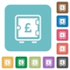 Pound strong box rounded square flat icons - Pound strong box white flat icons on color rounded square backgrounds