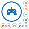Game controller icons with shadows and outlines - Game controller flat color vector icons with shadows in round outlines on white background