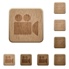 Video camera wooden buttons - Video camera on rounded square carved wooden button styles