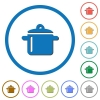 Cooking icons with shadows and outlines - Cooking flat color vector icons with shadows in round outlines on white background