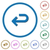 Back arrow icons with shadows and outlines - Back arrow flat color vector icons with shadows in round outlines on white background