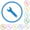 Single wrench icons with shadows and outlines - Single wrench flat color vector icons with shadows in round outlines on white background