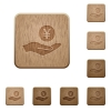 Yen earnings wooden buttons - Yen earnings on rounded square carved wooden button styles