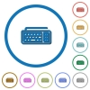 Computer keyboard icons with shadows and outlines - Computer keyboard flat color vector icons with shadows in round outlines on white background